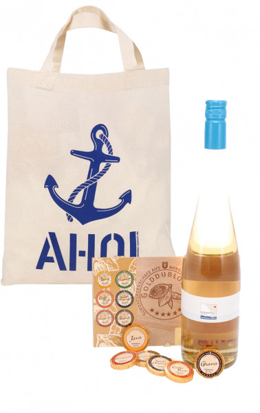 AHOI Tasche - Weißwein + Schokoladen-Golddublonen