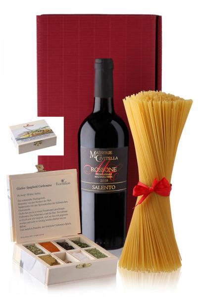 Spaghetti Carbonara Gewürzkasten e Vino Rosso