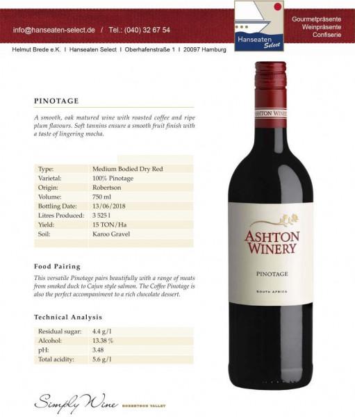 Ashton Winery PINOTAGE - Südafrika - Robertson