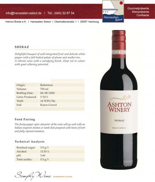 Ashton Winery SHIRAZ - Südafrika - Robertson