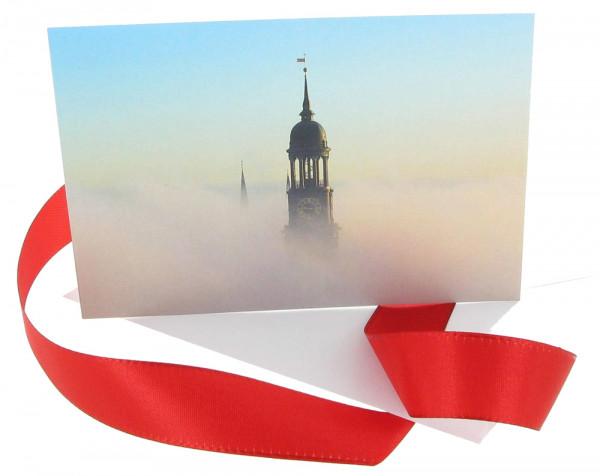 Grußkarte Hamburger Michel im Nebel