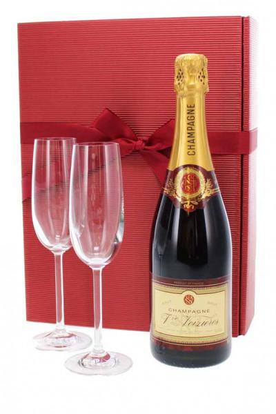 Champagnepräsent Veuve Noizières mit Gläsern