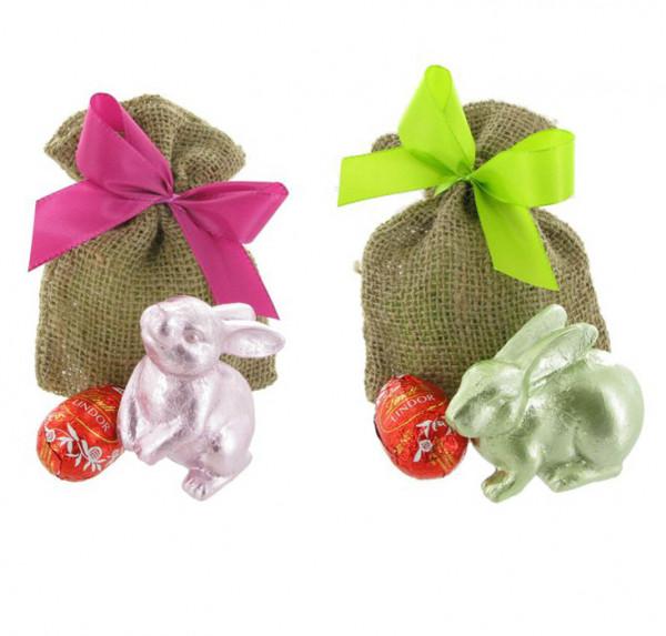 Oster Jutesäckchen mit Dekohase und Ei