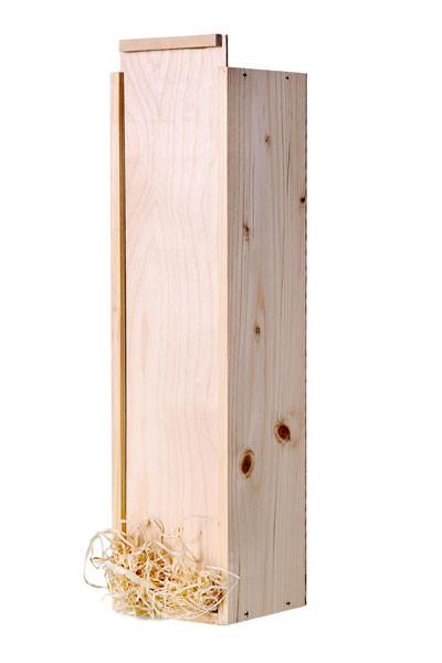 Holzkiste für 1 Flasche - mit Schiebedeckel