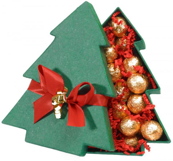 Tannenbaumschachtel mit Gold gefüllt