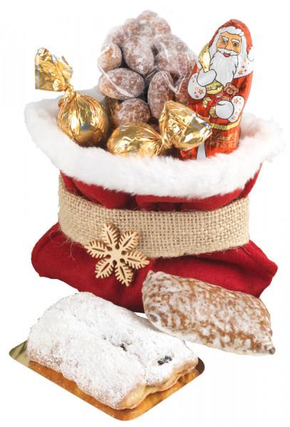 Roter Weihnachtssack mit Plüschbordüre