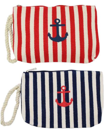 Clutch Strand Tasche - Streifen mit Ankerdruck