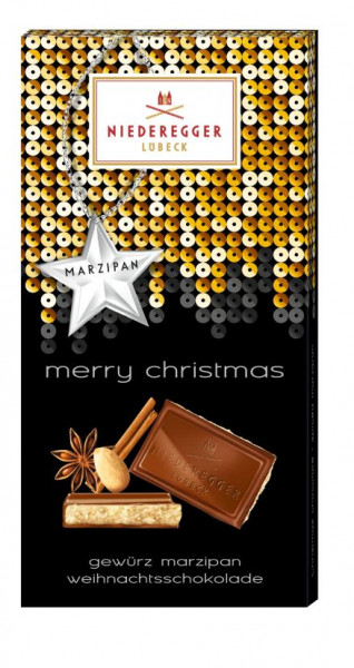 Niederegger Merry Christmas Weihnachtsschokolade Gewürz Marzipan 110g