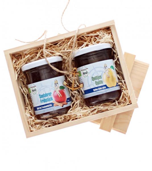 Marmeladenpräsent im Holzkistchen